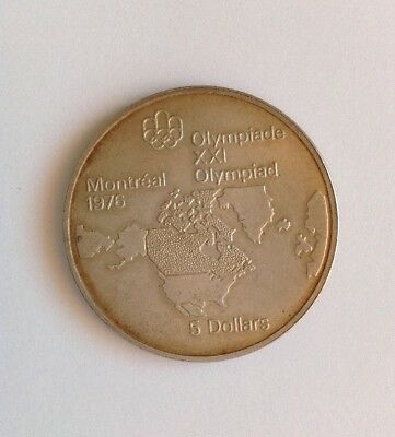 1973 Canada Olympic Silver Five $5 Dollar Coin, North America