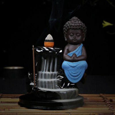 Baoblaze Buddha Ceramic Incense Burner Holder Smoke Cone Tower Backflow Blue