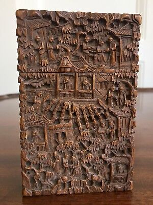 A Signed Cantonese / Chinese Carved Wood Card Case, Qing, 19th Century. 11cm.
