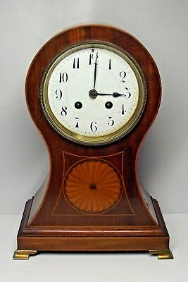 "Superb Antique French Japy Freres Balloon Mantle Clock Mahogany Inlaid 12"" Tall"