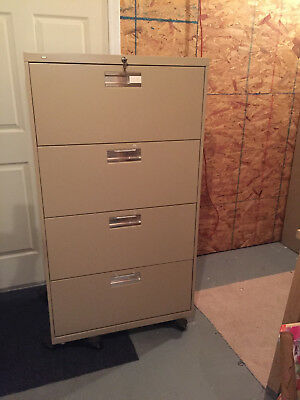"""HON 600 Series Four-Drawer Lateral File with lock & keys, 30"""" Wide"""