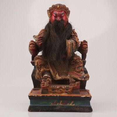 Ancient Chinese Wood Statue Old Spiritual Guan Gong Hand-Carved Collection