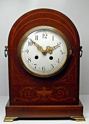 "A Large Superb Antique French Arch Top Mantle Clock Mahogany Inlaid 12"" Tall"