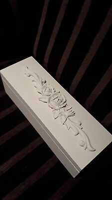 Madame Posh Wooden White Floral Trinket/ Jewellery Box RRP £29.98