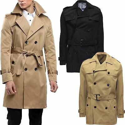 New Mens River Island Belted Trench Coat Double Breasted Stylish Long Mac S-XXL