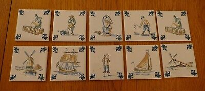 10 Square Ceramic Painted  Dutch tiles