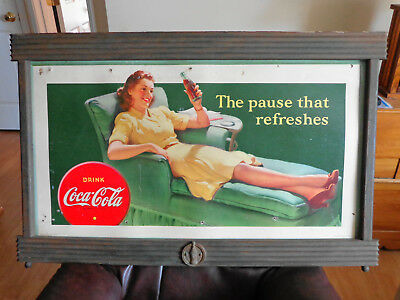 1940's coca cola cardboard sign 20 x 36, rare 1943 version kay display frame