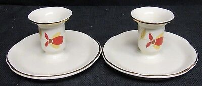 Pair of Hall China 1988 Limited Edition Autumn Leaf Candle Holders N126