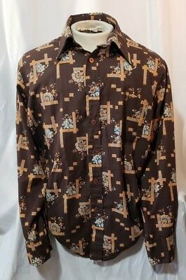 Vintage JC Penney 70s Button Up Shirt Disco Hippie Western Mens Size Large 16-I