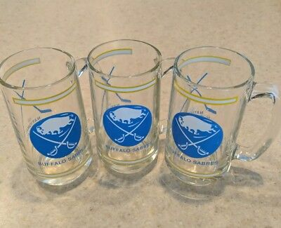 Vintage 70s Buffalo Sabres Glass Mugs Lot of 3 great condition