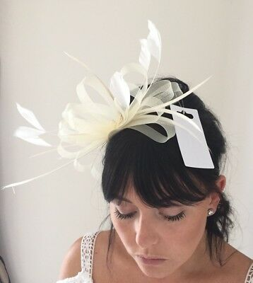 NEW Cream Fascinator Feathers Bows Satin Headband NEW