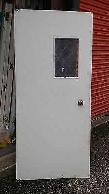 Vintage Exterior Door Solid Wood  W/ Small Leaded Glass Window Approx  36 X 79
