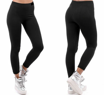 Womens Ladies Thermal Leggings Thick Fleece Winter Warm Gym Black Sizes 8-18 UK