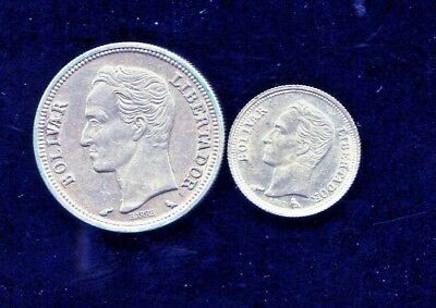 Venezuela - Beautiful Historical 1960 Silver Coins, 25 Centimos &  Bolivar