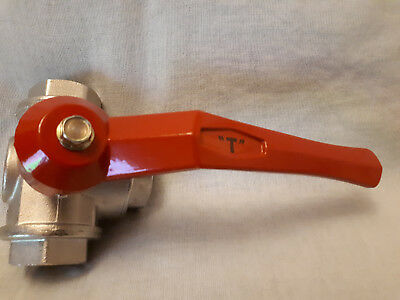 """3 Way Manual Ball Valve """"T-Port"""" Design – 3 / 4 Inch Bsp Female Connections."""