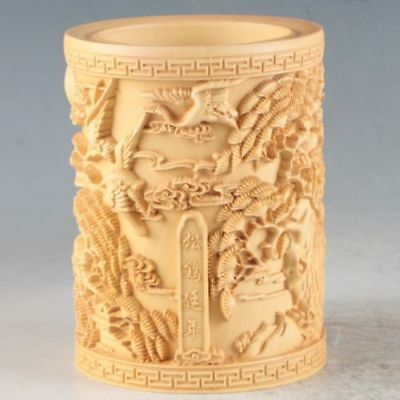 Collectible Handmade Carving wood Boxwood Brush Pot Statue Flower & Bird
