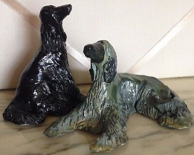 Vintage Handmade Artist Pottery Afghan Hound Duo - A Black And A Brindle!