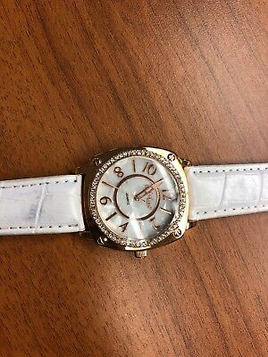 Rose Gold & Mother Of Pearl Watch With White Leather Band