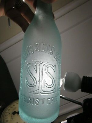 Frosted  Looking SEA GLASS S liebmann's sons  antique applied blob top bottle
