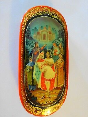Vintage Russian Black Lacquer Box Oval Signed Logo