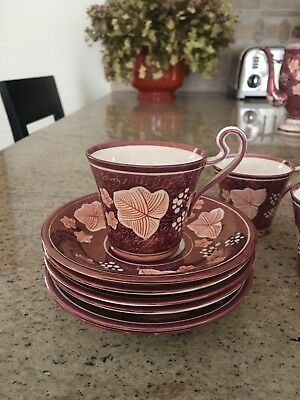 Set of six cups saucers Susie Cooper Lusterware Gray Pottery Hand painted