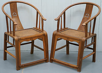 Pair Of Stunning Chinese Huanghuali Ox Back Horseshoe Chairs Circa 1920's