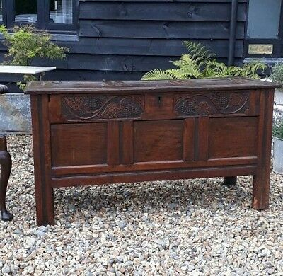 17th century oak coffer blanket box sword chest grapes and vines