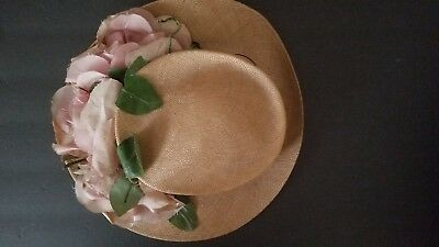 Wonderful Antique, Finely-Woven Straw Hat, Pink Roses