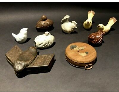 Vintage Japanese Wood & Pottery Bird Figurine Lot