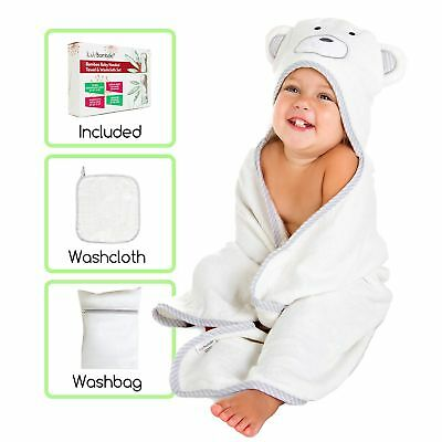 iLuvBamboo Baby Hooded Towel & Washcloth Set - Includes Washbag - Extra Large