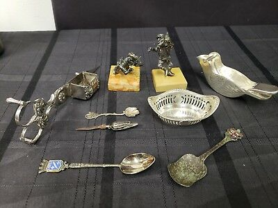 Sterling Silver & Silverplate Judaica Candle Scissors Spoons Trinket Dish Press