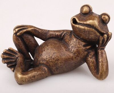 Vintage Chinese Bronze Figurine Statue Old Solid Cast Animal Frog Collection