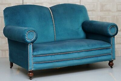Victorian Maple & Co Napoleonic Blue Velvet Drop Arm Sofa Part Of A Large Suite