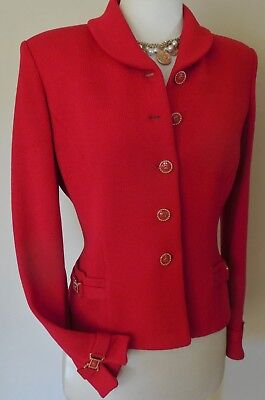 St. John Collection Marie Gray RED Santana knit blazer suit jacket, women's 6