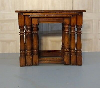 Antique Oak Nest Of Three Occasional Coffee Tables