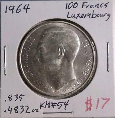 1964 100 Francs Luxembourg Silver Coin