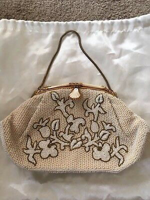 VTG Jorelle WHITE glass beaded purse with Mother Of Pearl Ornate Clasp FRANCE