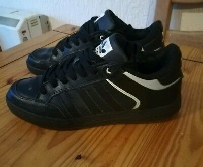 Men's Older Boy's Adidas Trainers Black Faux Leather UK 8 Water Resistant School