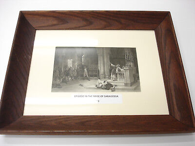 Rare Old ANTIQUE 1883 ART PRINT IN WOOD Frame EPISODE IN THE SIEGE OF SARAGOSSA