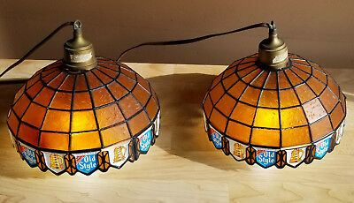 """2 vtg 1980s OLD STYLE BEER STAINED GLASS plastic HANGING SWAG LAMP LIGHTS 10"""""""