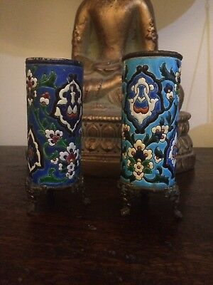 pair longwy French pottery small vase Bronze mounted Base