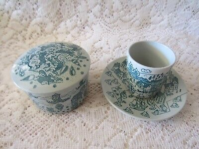 Hoyrup Nymolle Art Faience Denmark Vintage Viking Trinket Box and Cup + Saucer