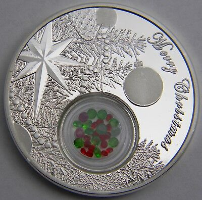 Niue Christmas Tree Ball 1oz Proof Silver Coin with genuine Rubies & Emeralds