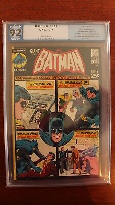 Batman #233 - PGX (Not CGC) 9.2 White Pages, DC Comics