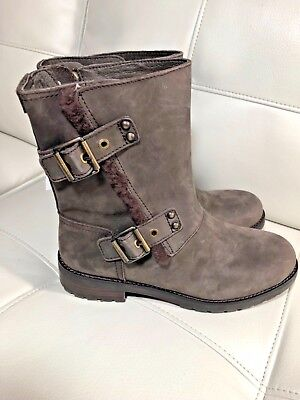9a5e85203ee UGG Niels 1018607 Stout Leather Water Resistant Moto Boots Womens Us ...