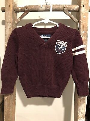POLO BY RALPH LAUREN Baby Boys cotton Burgundy sweater Size 18 Months GUC
