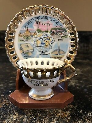 1964-65 New York Worlds Fair Small Souvenir U.s.steel Unisphere Cup Saucer Stand