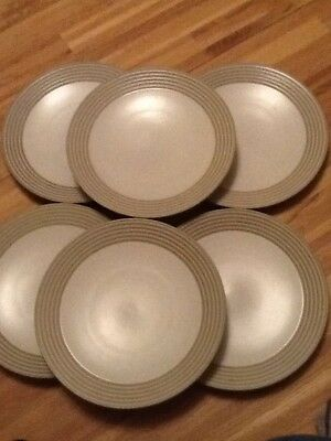 """Denby Intro Stripes Sand-10.5"""" Dinner Plates X 6 - Used Good Condition"""