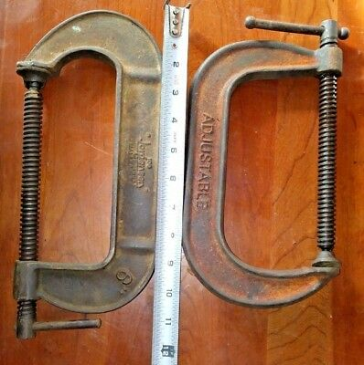 """Vintage Lot of 2 C Clamps Joe Jorgensen No. 106 6"""" and Another Stamped 1460-6"""""""