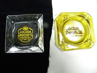 "2 Vintage Las Vegas ""Gold Nugget""  & Cactus Pet's Jackpot, NV Ashtrays"